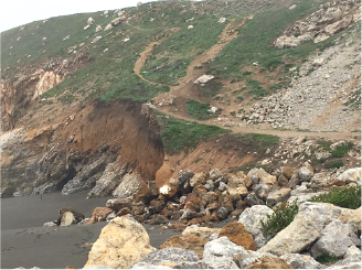 Coastal erosion, as seen in this recent photograph of the quarry's south bluff, continues to undermine the safety of popular recreational routes. The Reclamation Plan will restore safe access trails and the quarry's property owner recently received permission from the Coastal Commission to post signs warning of dangerous access conditions.